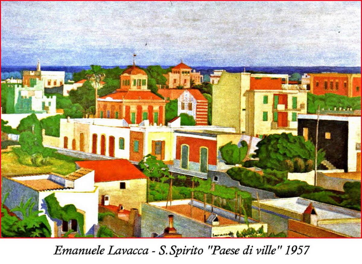 Emanuele Lavacca_Paese di Ville 1957 olio su compensato cm.70x100